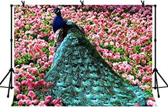 LYLYCTY 7x5ft Peacock Wedding Backdrop Royal Blue Crown Peacock Among The Red Flowers and Green Grass Noble Princess Party YouTube Backdrops Photo Studio Props LYZY0558
