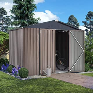 U-MAX 8' x 6' Outdoor Metal Storage Shed, Steel Garden Shed with Double Lockable Doors, Tool Storage Shed for Backyard, Pa...