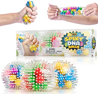 YoYa Toys Spiky DNA LED Ball [3-Pack] | Stimulating & Calming Sensory Squishy Balls for Kids & Adults | Spike Squishies for Autism, Fidgeting, ADHD & Quitting Bad Habits | Non-Toxic Rubber