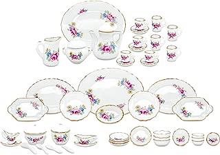 zamonji 50 Pieces Dollhouse Dining Serving Set - Floral Pattern Golden Grim