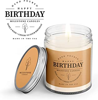 Milestone Candles Happy Birthday Mason Jar Candle, 7.5 oz Glass, Made in The USA, Soy Blend, 100% Cotton Wick