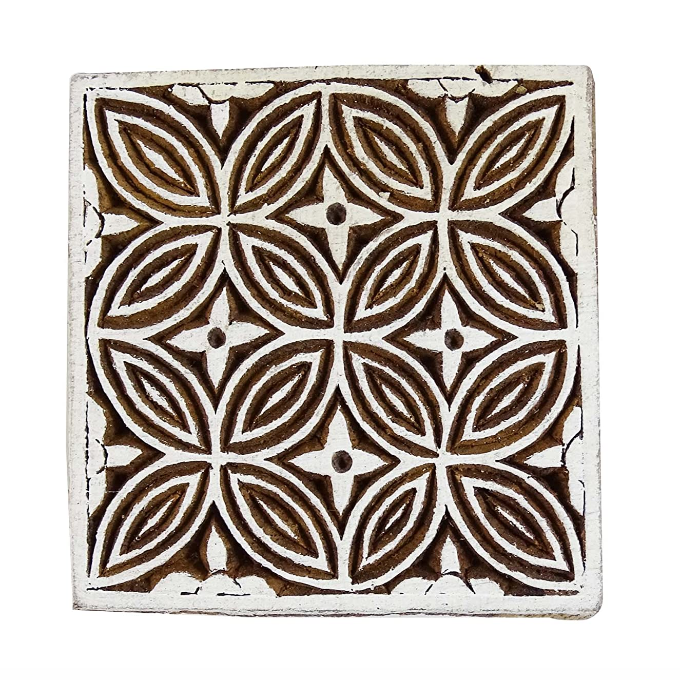 Decorative Hand Carved Floral Pattern Wooden Stamp Blocks Textile Printing Block