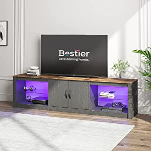 """Bestier 70""""Modern TV Stand 20 Color RGB Light Entertainment Center, Media Console 6 Storage Glass Shelves, Television Cabinet for TVs up to 75"""", for DVDs, Game Devices in The Living Room, Golden Black"""