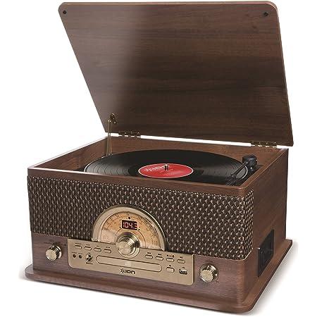 ION Audio Superior LP - Giradischi 7 in 1 a Tre Velocità con Casse, Lettore CD, Piastra a Cassette, Streaming Bluetooth, entrata USB