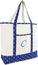 DALIX Large Tote Bag Shoulder Bags Personalized Gifts Ballent Blue Anchor A - Z
