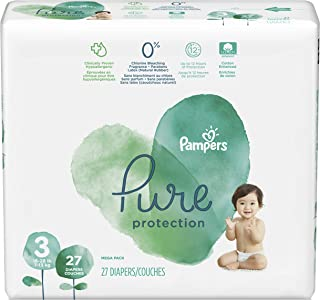 Diapers Size 3, 27 Count - Pampers Pure Protection Disposable Baby Diapers, Hypoallergenic and Unscented Protection, Mega Pack (Old Version)