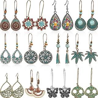 12 Pairs Bohemian Earrings Vintage Dangle Earrings Turquoise Metal Hollow Pendant Earrings Set for Women Girls (Style Set 1)
