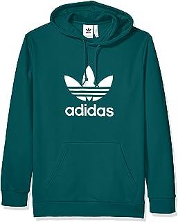 adidas Originals Men's Trefoil Hooded Sweatshirt, Noble Green/White, Medium