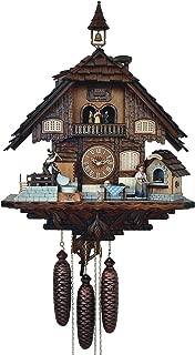 Alemán Reloj cucú 8 días de movimiento de estilo Chalet, 60 cm - Auténtico reloj de cuco del bosque negro por Anton Schneider