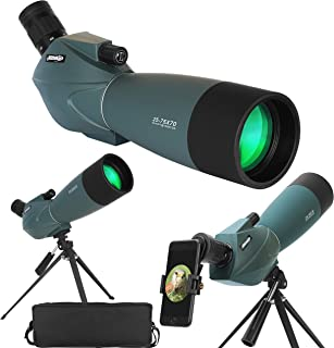 Spotting Scope 25-75X70 with Tripod Cell Phone Adapter and Bag BAK4 Monocular 45 Degree Angled Spotting Scopes for Bird Wa...