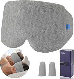 VOLUEX Handmade Sleep Mask for Men Women, Enlarged Sleeping Mask 100% Block Out Light Blindfold Grey