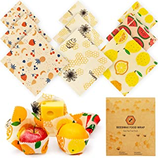 Beeswax Food Wraps Reusable Set – 9 Pcs Beeswax Wrap Sustainable Cover, Eco-Friendly Wax Wrap, Zero Waste Reusable Food Wr...