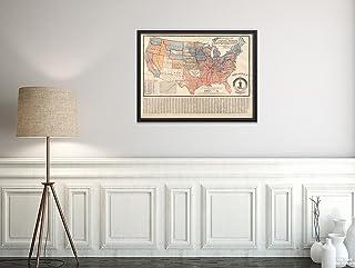 1893年地図 アメリカ合衆国ウェラー政治 : 「The Plurality Vote of The p|Vintage Fine Art Reproduction|Ready to Frame」