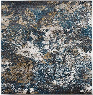 Persian Rugs 6490 Turquoise 4 x 5 Abstract Modern Area Rug