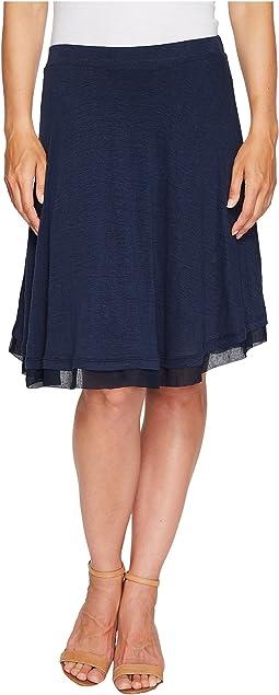 Linen Jersey Chiffon Trimmed Skirt