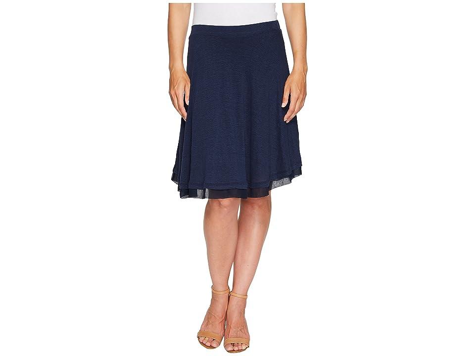 Three Dots Linen Jersey Chiffon Trimmed Skirt (Night Iris) Women