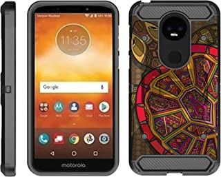 TurtleArmor | Compatible with Motorola Moto E5 Case | G6 Play Case | G6 Forge Case [Armor Pro] Armor Full Body Rugged Hybrid Kickstand Holster Belt Clip Case Sea Ocean - Tribal Turtle Shell