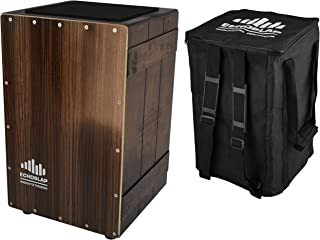 Echoslap Vintage Crate Cajon -Ebony, Hand Crafted, Siam Oak Body, Maple Front Adjustable Snare + Free Gig Bag
