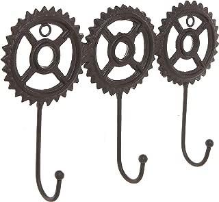 MyGift Brown Cast Iron Metal Steampunk Gear Design Wall Mounted 3 Hook Coat Rack/Entryway Hanging Key Hooks