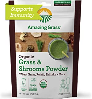 Amazing Grass Greens & Shrooms Booster: Super Greens Smoothie Booster with Cordyceps, Turkey Tail, Reishi & Shitake, 30 Se...
