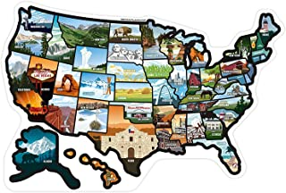 VOIR BEAUCOUP DE PLACES .com RV State Stickers United States Travel Camper Map RV Decals for Window, Door, or Wall ~ Comprend 50 State Decal Stickers with Scenic Illustrations