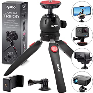 qubo Mini Tripod Camera Holder - Premium Tabletop Small Phone Tripod Mount for GoPro iPhone/Cell Phones Webcam Projector Compact DSLR - Hand Desktop Tripod Stand Table