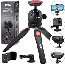 qubo Mini Tripod Camera Holder - Premium Tabletop Small Phone Tripod Mount for GoPro iPhone / Cell Phones Webcam Projector Compact DSLR - Hand Desktop Camera Tripod Stand Table