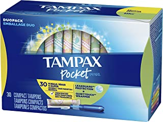 Tampax Pocket Pearl Plastic Tampons, Duopack (Regular/Super Absorbency), Unscented, 30 Count (Packaging May Vary)