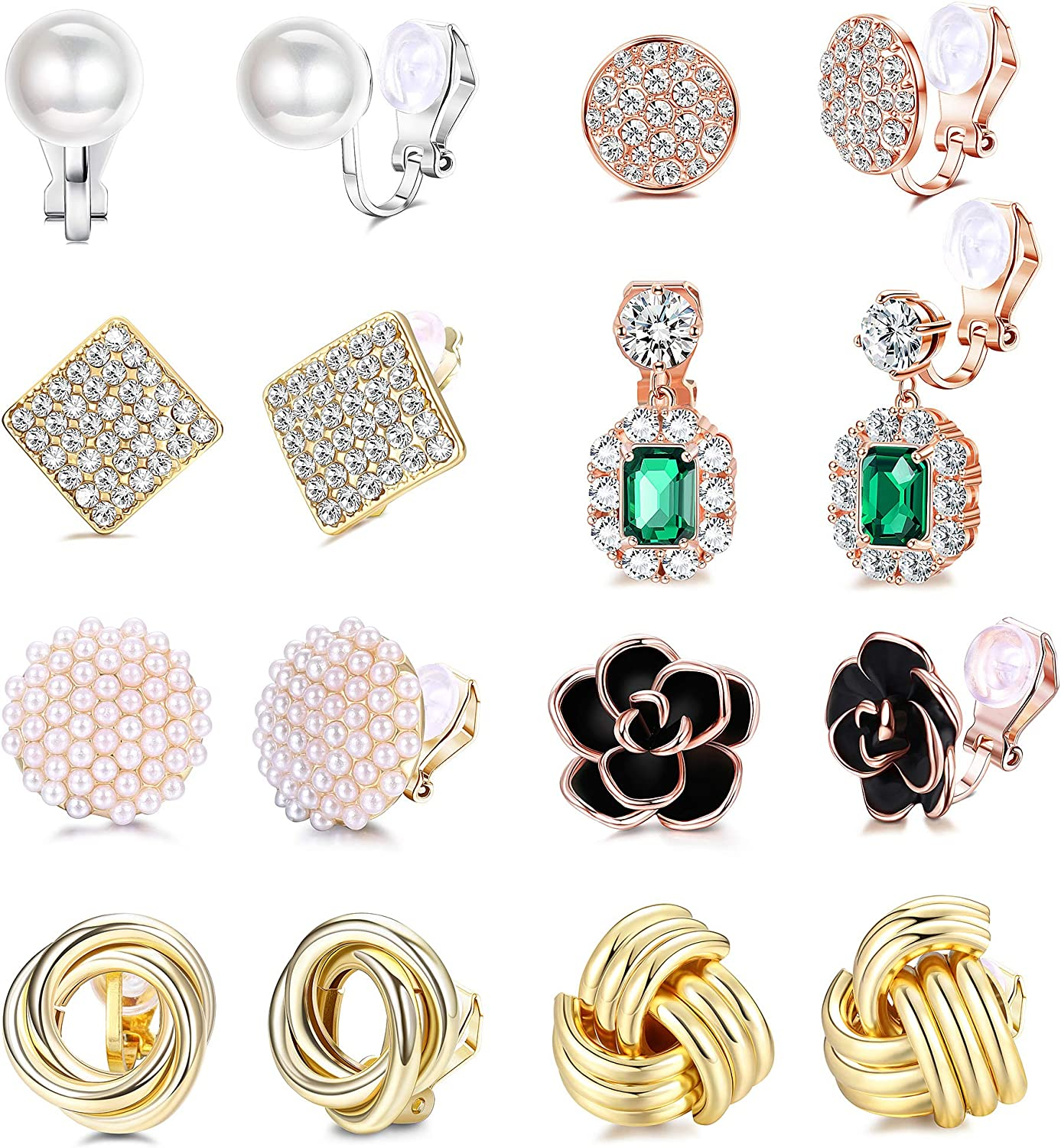 LOLIAS 8 Pairs Clip NEW before selling ☆ Earrings Sets CZ Simul Women Max 44% OFF Flower Rose for