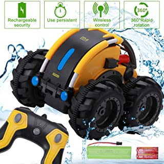 Komiikka Remote Control Car for Boys, RC Stunt Car 360° Rotating Tumbling Truck for Kids Waterproof, Including Battery Rechargeable