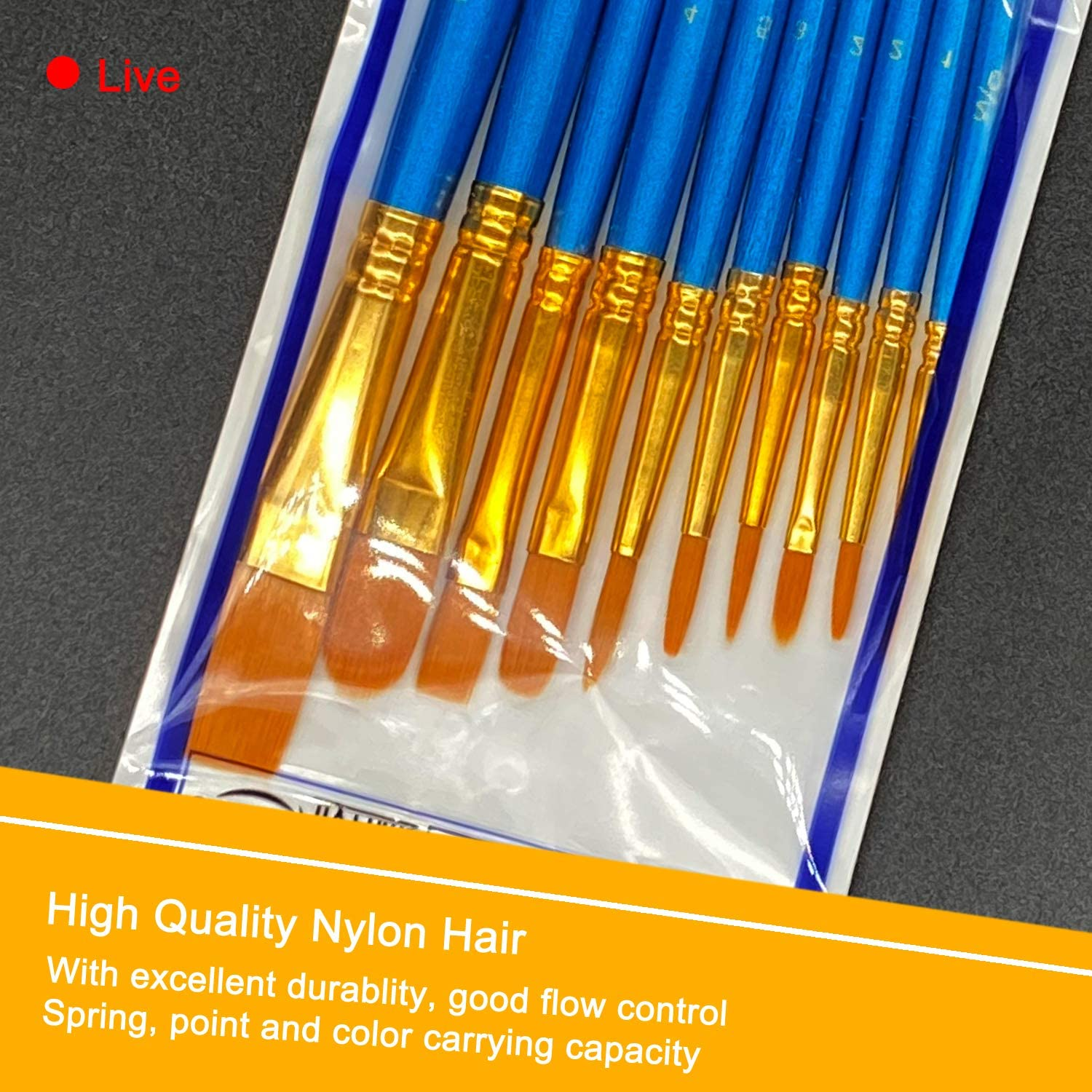 6 Pack 60 Pcs Pointed-Round Tip Paintbrushes Nylon Hair Artist Acrylic Paint Brushes for Acrylic Watercolor Oil Face Art Model BOSOBO Paint Brush Sets Blue Miniature Detailing /& Rock Painting