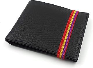franartPiel - Cartera, billetera, tarjetero, monedero tipo americano Piel Ubrique con cierre de elástico bandera Republica...