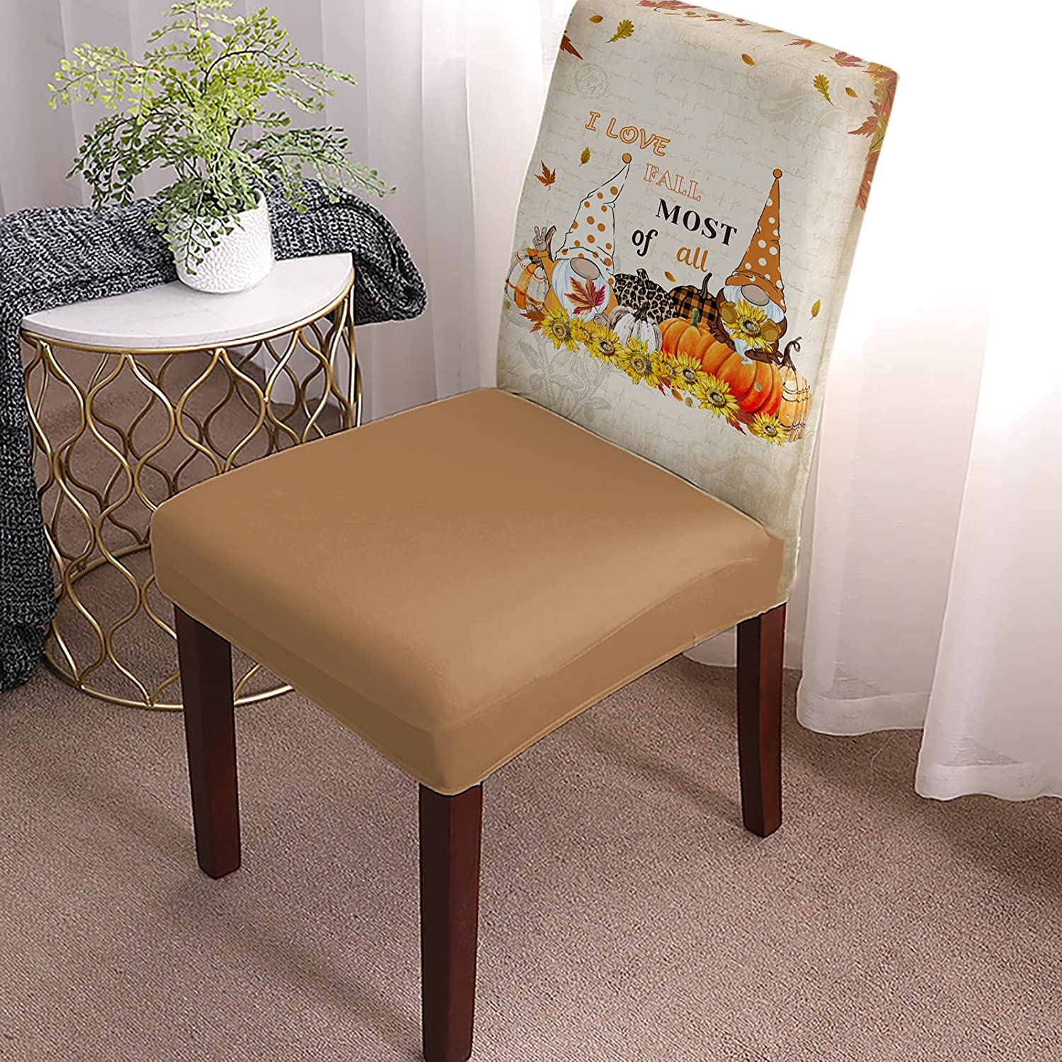 Autumn Gnome Sunflower Ranking TOP8 Detroit Mall Farm Fall Roo Dining Chair Cover Harvest