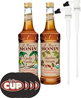Monin Organic Coffee Syrup Vanilla and Hazelnut 750 ml Bottles with 2 Monin Pumps and Set of By The Cup Coasters