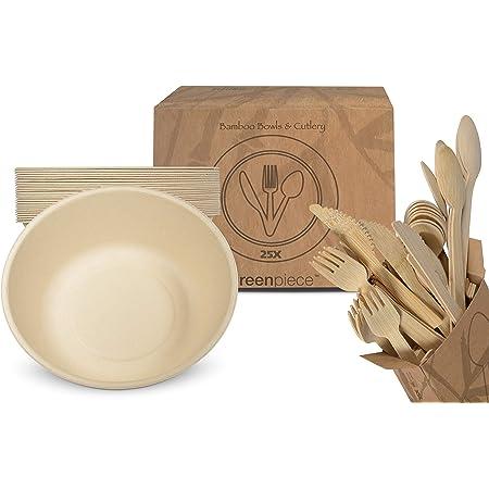 greenpiece ® 25 Platos Hondos Fibra de Bambú 800ml + 25 juegos de cubiertos | Gran Resistencia | Embalaje sin plástico | Desechables | Ecológicos | ...