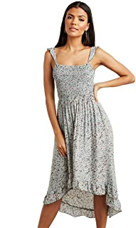 Ditsy Printed High-Low Hem Midi Women's Dress
