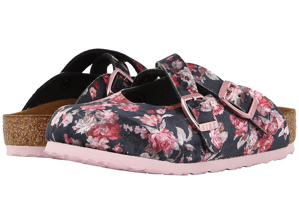Birkenstock Kids Dorian Flower (Toddler/Little Kid/Big Kid) (Velvet Flower Black) Girls Shoes