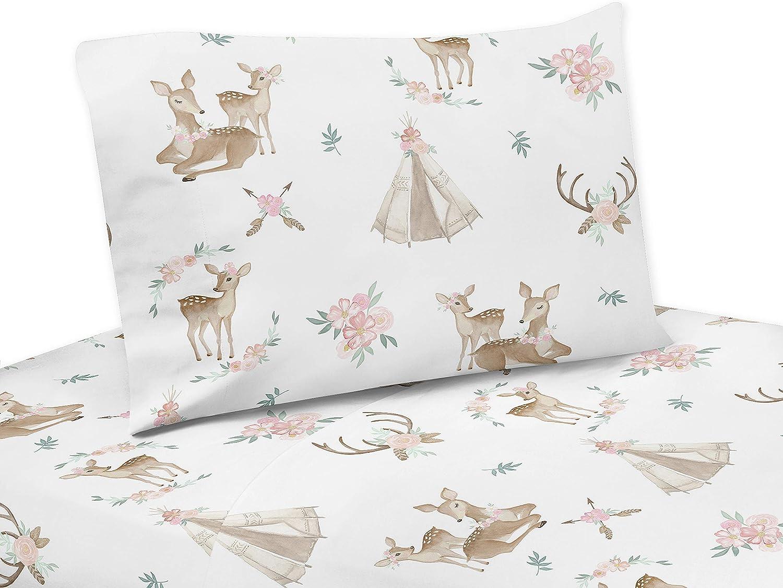 Sweet Jojo Designs bluesh Pink, Mint Green and White Boho Twin Sheet Woodland Deer Floral Collection3 Piece Set, Tan
