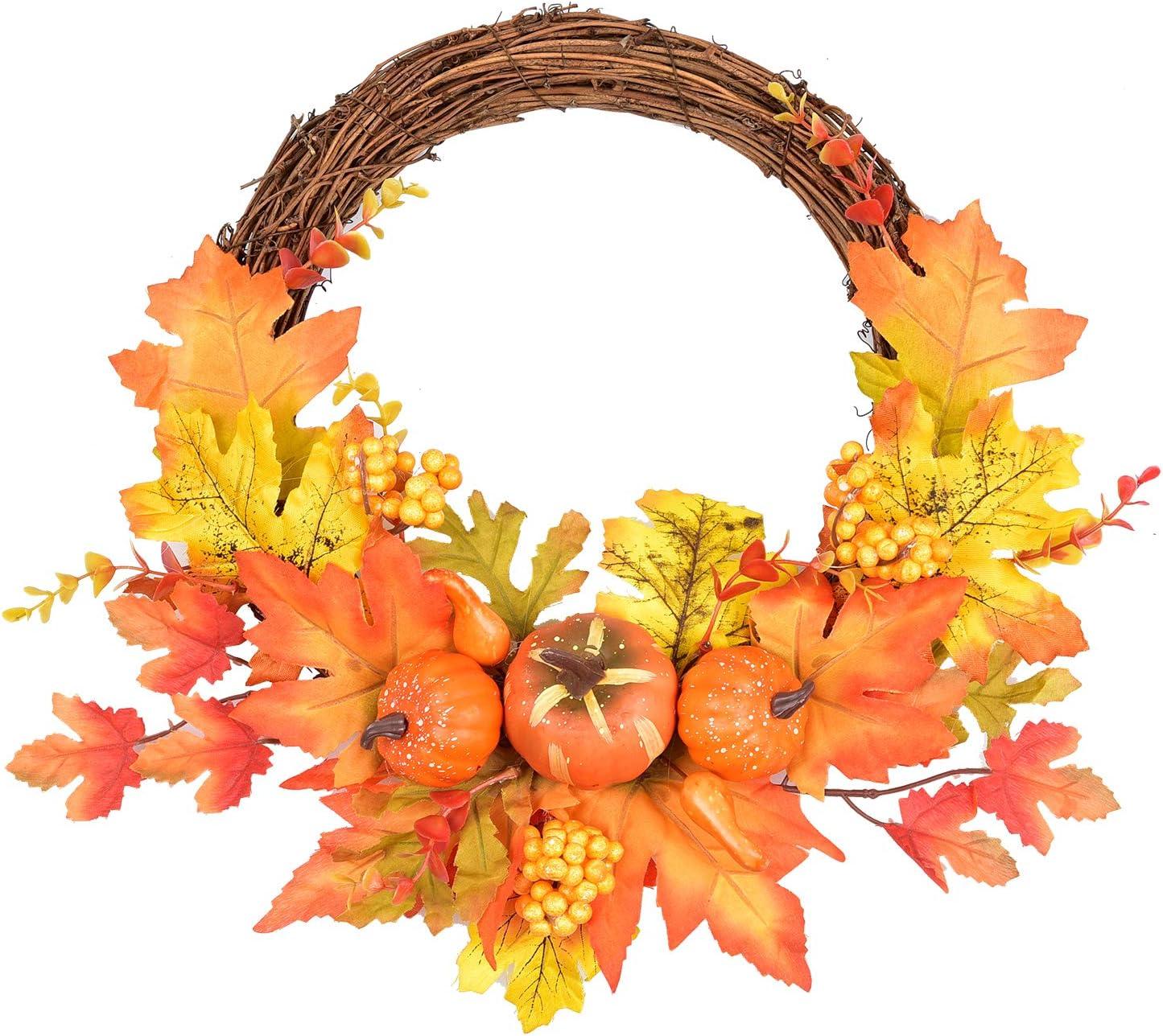 LSKYTOP Artificial Pumpkin Fall Leave Berry Wreath - 10
