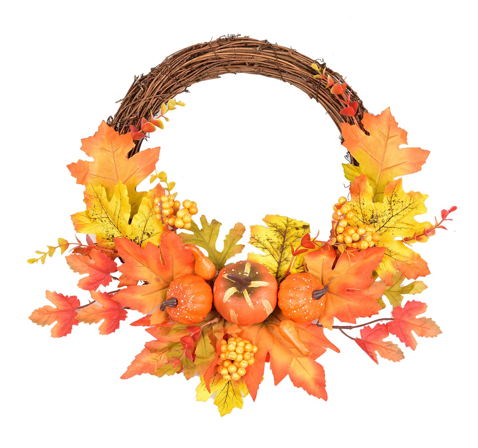 Primitive Fall Thanksgiving Halloween Door Wall Wreath Pumpkin Pine Cone Leaves
