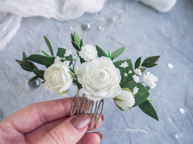 Amazon.com Wedding Flower Comb Realistic Handmade Babys Breath ...