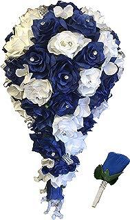 Angel Isabella 2pc Set: Cascade Bridal Bouquet & Boutonniere W/bling: Royal Blue White - Silk Flowers