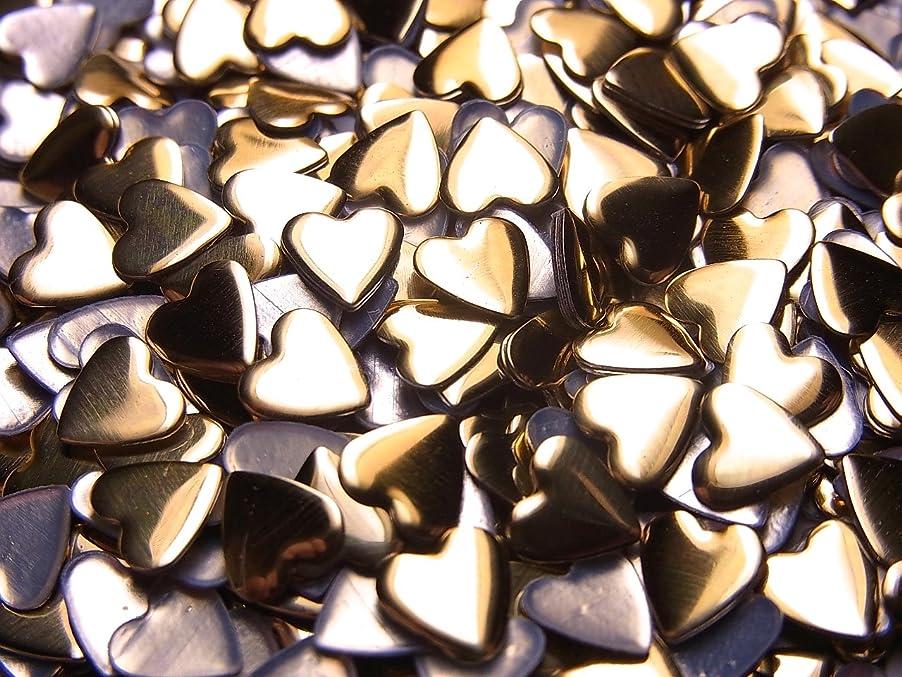 かわす足枷あなたのもの【jewel】ハート型 メタルスタッズ 5mm ゴールド 100粒入り