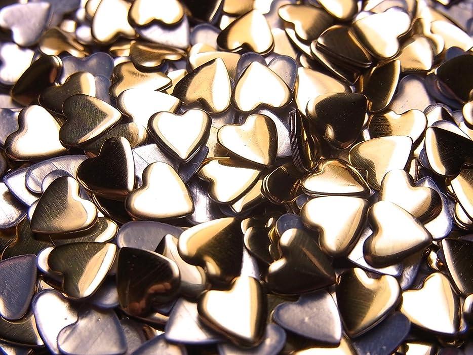 カセット十分です教義【jewel】ハート型 メタルスタッズ 5mm ゴールド 100粒入り