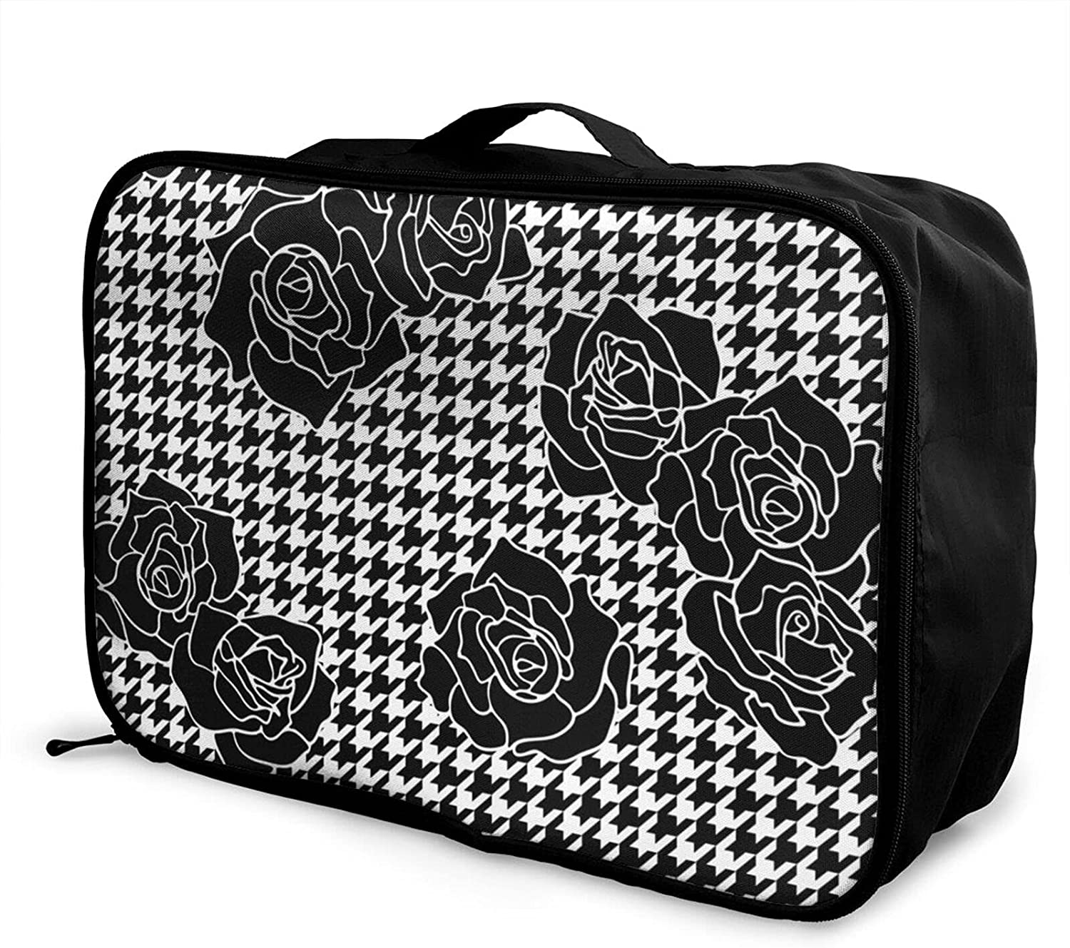 Ranking TOP8 Foldable Regular discount Travel Bag Tote Roses Plaid Black Carry-On Houndstooth