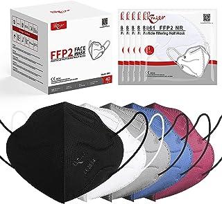 KKmier Mascarillas FFP2 Homologadas 40 Pcs, Mascarilla ffp2 [Certificada CE 2834] con Pendientes Elásticos y Clip Nariz Ad...