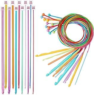 Monland Lot de 23 aiguilles HHKel tunisiennes StüCk avec câble en plastique, aiguille HHKel afghan et aiguilles à tricoter...
