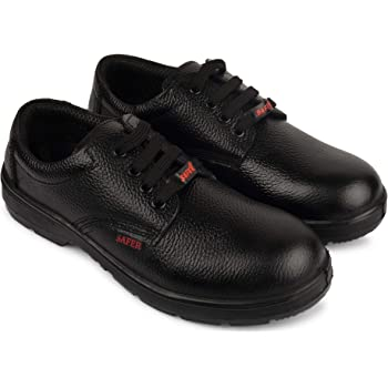 Aktion Safety Genuine Leather Shoes Safer-1103 Steel Toe - Size 6, Black