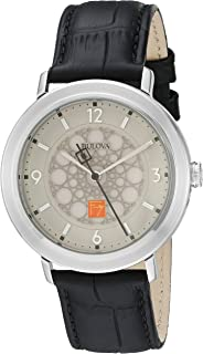 Bulova Men`s Quartz Stainless Steel and Leather Dress Watch, Color:Black (Model: 96A164)