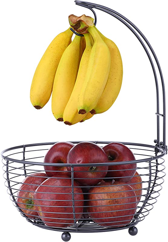 SunnyPoint Tabletop Wire Fruit Basket Bowl Stand With Banana Hanger Black